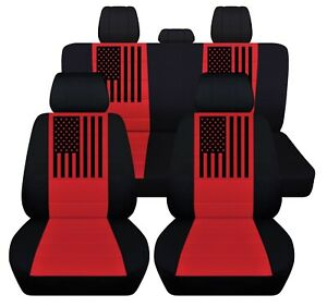 Front And Rear Seat Covers Fits 2012 To 2020 Dodge Ram American Flag Design