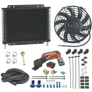 Transmission Oil Fluid Cooler Electric Fan 1 8 Npt Inch Thermostat Switch Kit