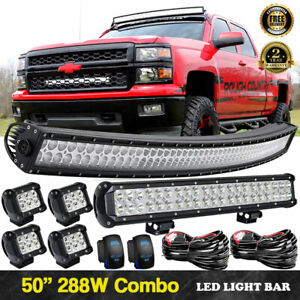 For Gmc Sierra Chevy Silverado 50 Curved Led Light Bar Roof Driving 23inch Lamp