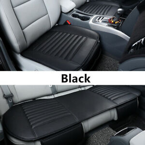Black Car Breathable Pu Leather Front Rear Back Seat Cover Mat Chair Cushion Us