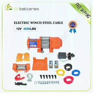 12v 4500lbs Electric Recovery Winch Towing Truck 6mm 15m Steel Rope Off Road