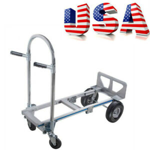 Height Convertible Hand Truck Foldable With 4 Wheel Cart Hand Truck Usa Stock