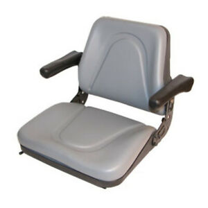 Gray Universal Tractor Seat With Arms For Kubota Skid Steer Bobcat