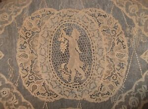 Antique French Normandy Mixed Lace Twin Bed Cover Spread Bridal Ladies Floral
