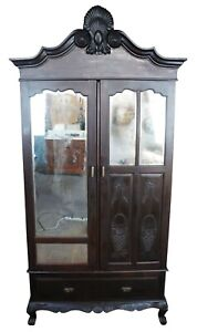 Carved Asian Knock Down Armoire Wardrobe Antique Linen Press Cupboard Chifferobe