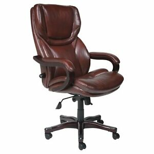 Serta Executive Big Tall Bonded Leather Office Chair Brown