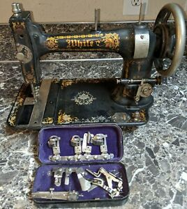 Antique White Rotary Treadle Sewing Machine W Accessories 1890 S