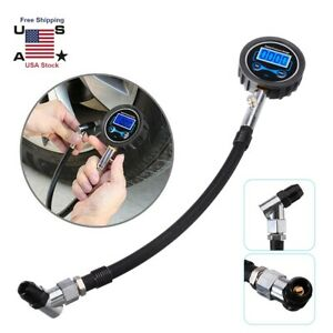 200 Psi Digital Air Tire Inflator With Pressure Gauge Chuck For Truck Car Bike