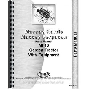 New Parts Manual For Massey Ferguson 16 Lawn Garden Tractor