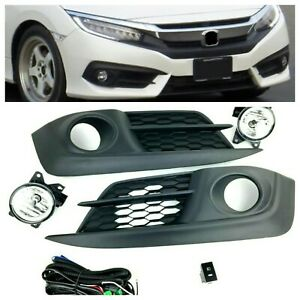 For 2016 2017 Honda Civic Fog Lamp Bumper Fog Lamps Set Kit New With Harness