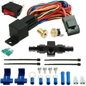 180f Electric Transmission Oil Cooler Fan Thermostat Switch Kit 6an In Line Hose