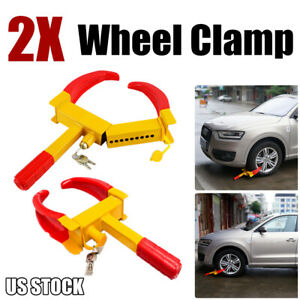2x Wheel Tire Lock Clamp Parking Boot Anti Theft For Boat Trailer Car Suv Atv Us