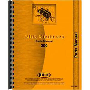 Parts Manual For Allis Chalmers 200 Tractors