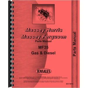 New Parts Manual For Massey Ferguson Mf 35 Tractor