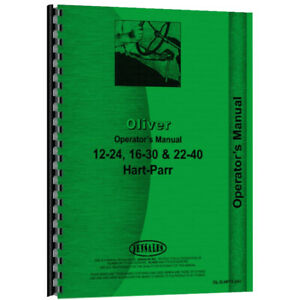 Tractor Operator s Manual For Oliver Hart Parr 22 40