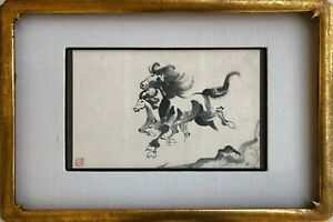 Antique Vintage Chinese Original Ink Brush Horse Painting With Artist Sealed