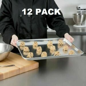 12 Pack Half Size Aluminum 18 X 13 Bun Sheet Baking Pan Wire In Rim Commercial