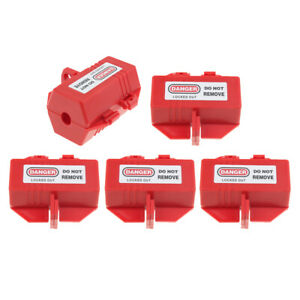 5 Pieces Heavy duty Red Plug Lockout Device Tool Safety Tagout Plastic Made