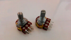 10pcs B100k Ohm Dual Linear Taper Rotary Potentiometer Pot 15mm Shaft 6 Pins Uks