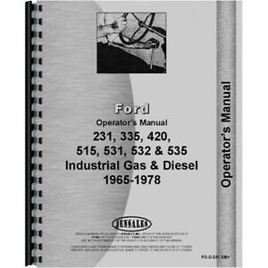Operators Manual Fits Ford 231 Tractor industrial
