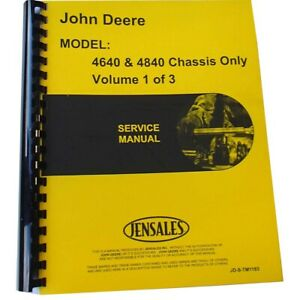 Service Manual chassis Only Manual Fits John Deere Tractor 4840 4640