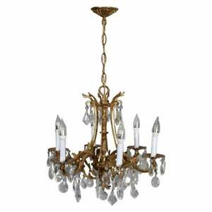 Vintage French Louis Xiv Style Gilt Bronze And Crystal Chandelier 20th Century