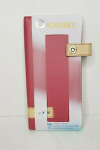 Rolodex Padfolio Organizer Business Card Holder Book Rose Color With Tan Clasp