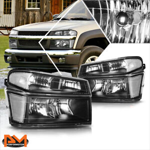 For 04 12 Chevy Colorado Gmc Canyon Bumper Headlight Lamps Clear Corner Black