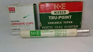 Vintage K e Trupoint Pencil Pointer W 3 Quick change Abrasive Cups Draw Leads
