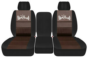 Front Truck Car Seat Covers Blk Brown W Mountain Fits Dodge Ram11 18 1500 2500