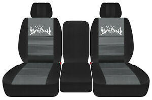 Front Truck Seat Covers Blk Charcoal W Mountain Fits Dodge Ram11 2018 1500 2500