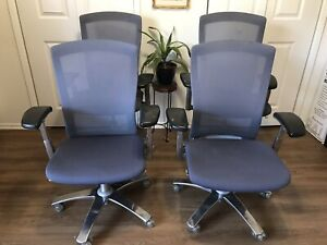 Knoll Life Office Chair set Of 4 Blue Mesh Aluminum Frame Fully Adjustable