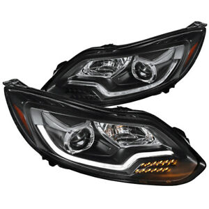 Fit Ford Focus Led Signal Lights Drl Bar Projector Headlights Pair Left Right