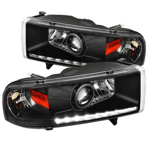For Dodge 94 2001 Ram 1500 94 2002 Ram 2500 3500 Black Drl Projector Headlights