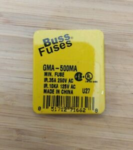 Box Of 5 New Buss Fuses Gma 500ma Fuse Cooper Bussmann free Shipping