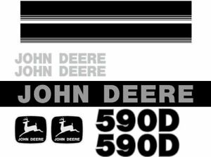 Fits John Deere 590d New Style Ns Excavator Decal Set With Stripe Jd Decals