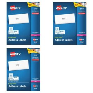 3 Boxes Of 3000 Avery 5160 Address Mailing Labels 1 X 2 5 8 9000 Labels