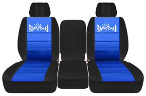 Front Truck Seat Covers Black Med Blue W Mountain Fits Dodge Ram 2011 2018 1500