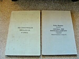 Pair Vintage Mid Century Ledger Binders Insurance Company Register Paper Office