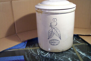 Red Wing 3 Gal Birch Leaves Stoneware Crock With Red Wing Bar Lid Nice