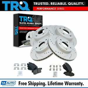 Performance Drilled Slotted Brake Rotor Ceramic Pad Front Rear Kit