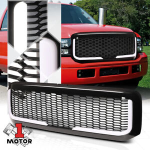 Black Honeycomb Mesh Front Bumper Grille W led Bar Drl For 99 04 F250 f350 Sd