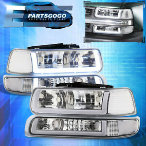 For 99 02 Silverado Tahoe Led Drl Chrome Housing Clear Lens Headlights Assembly