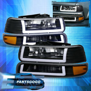 For 99 02 Chevy Silverado Tahoe Led Drl Black Amber Headlights Signal Assembly