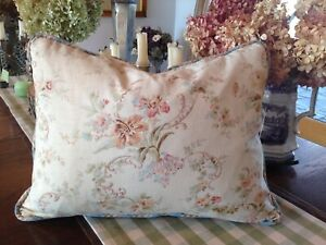 Charming French Antique Vintage Fabric Pillow Floral Linen Home Decor