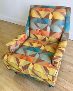 Vintage 1950s Accent Lounge Chair W New Fabric Retro Mid Century Modern Mcm