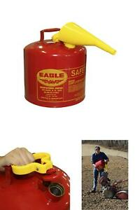 Eagle 5 gallon Metal Gasoline Safety Can Gas Fuel Tank Galvanized Steel W funnel