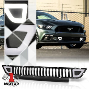 Black Vertical Bar Front Lower Grille W Trianglar Led Drl For 15 17 Ford Mustang