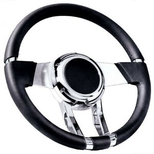 Flaming River Fr20150 Steering Wheel With Black Leather Grip 13 13 16