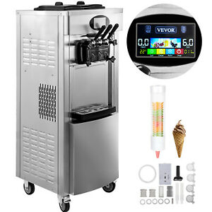 2200w Commercial Soft Ice Cream Machine 3 Flavors 5 3 To 7 4gallons Lcd Panel